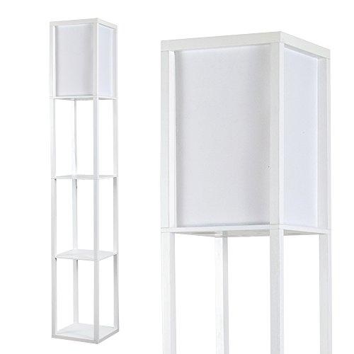 MiniSun – Moderne und weiße Stehlampe aus Holz und weißem Gewebe mit eingebauten Regalen im skandinavischen Stil – Stehlampe mit Regalen