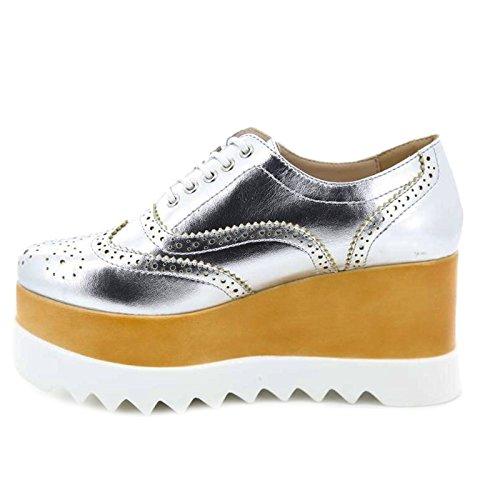Toocool - Scarpe donna francesine mocassini zeppa sneakers stringate Queen Helena X17-14 Argento