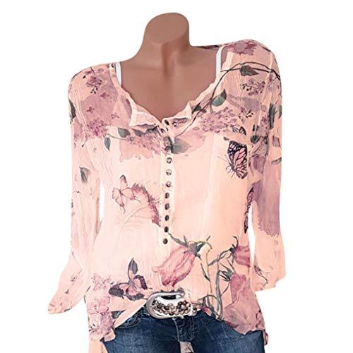 Lucky mall Frauen Floral Bedrucktes T-Shirt Chiffon Unregelmäßige Tops, Langärmeliges Bedrucktes Shirt Chiffonhemd mit V-Ausschnitt