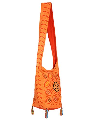 Orange Hand bag Jaipuri for Girls Jhola Bags Embroidery Jaipuri Sling Bag Floral Work for Girl Rajasthani Ethnic Design Women Ladies By Rajrang  available at amazon for Rs.399
