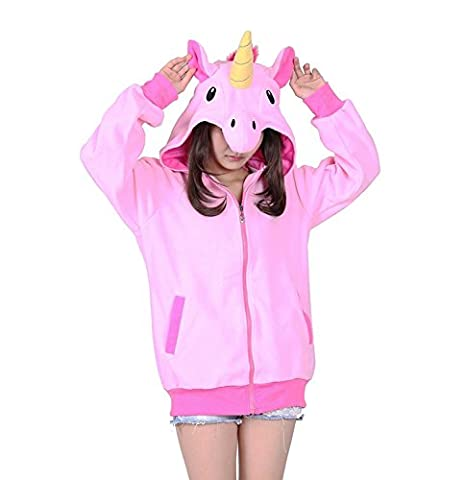 KiKa Monkey Cosplay Einhorn Tier Hoodie Jacke Pullover Party Kostüm (S, Rosa) (Rosa Einhorn-kostüm)