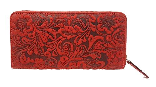 wunderschöne Damen echt Leder Reißverschluss Geldbörse lang, Jockey Club Liane florale Motive, Ranken und Blüten in toller Hoch Tief Prägung kirschrot -