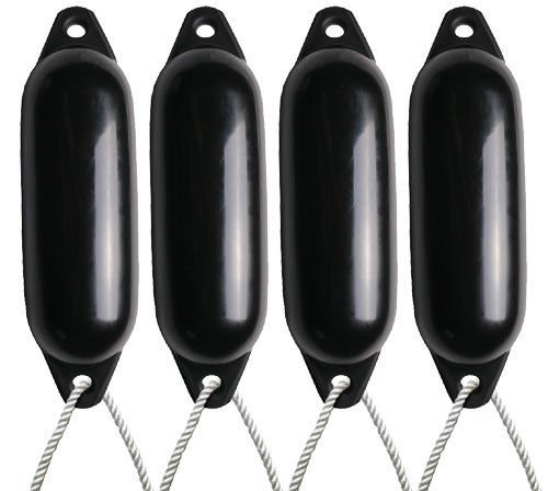 4 X MAJONI BLACK BOAT FENDERS (INFLATED) - SIZE1 + FREE ROPE Test