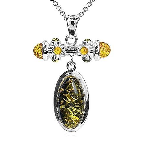 Ambre multicolore Argent sterling ovale moderne Cadeau parfait Pendentif chaîne rolo 45,7cm