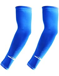 COOLOMG Par Niños & Adultos manga de compresión baloncesto Shooter capa base elástica Dri-Fit antideslizante protección UV brazo Cooler rápido Sudor kick-away Fast Dry XS-XL, mujer niña Niño hombre juventud, color  - azul, tamaño XS