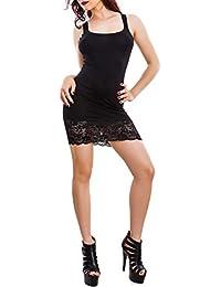 Toocool - Vestito Donna Miniabito Jersey Fondo Pizzo Floreale Abito Canotta  Sexy A1693 62ea79510c0