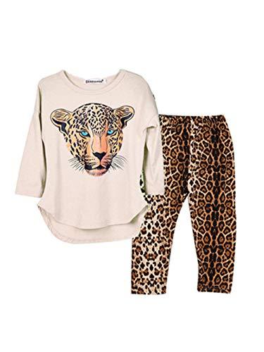 Selbstgemacht Leopard Kostüm - GJKK 2pcs Bekleidungssets Mädchen Leopard Print Langarmshirt Sweatshirt Tops + Leopard Hosen Outfit Kostüm Pajama Sets Nachtwäsche