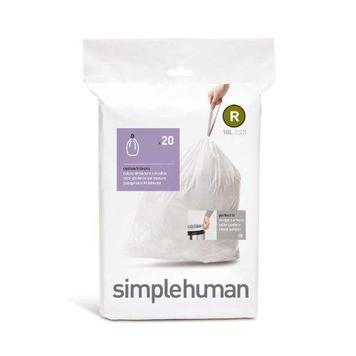 60 (3 paquetes de 20 unidades), código simplehumano/tamaño R (10 litros) bolsas de basura, CW0201