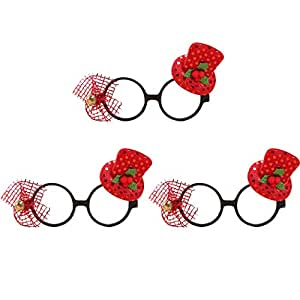 Coxeer 3 Pairs Christmas Party Favor Glasses Holiday Glasses Frame Funny Glasses for Xmas