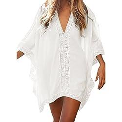 Vestido de Playa Encaje V-Cuello Traje Ropa de Baño para Mujeres Camiseta Manga Murcielago Boho Hippie Camisolas y Pareos Bikini Cover Up Tunica Talla Grande - Landove