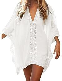 Cache Maillot de Bain - BienBien Robe de Plage Femme Ete Chaud Couleur unie Chemise Col V Bikini Cover Up Caftan Sarong Wear