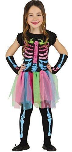 Mädchen Rainbow Skelett Zuckerschädel Tag Der Toten Bunt mehrfarbig Tutu Halloween Kostüm Kleid Outfit 3-12 jahre - 10-12 years