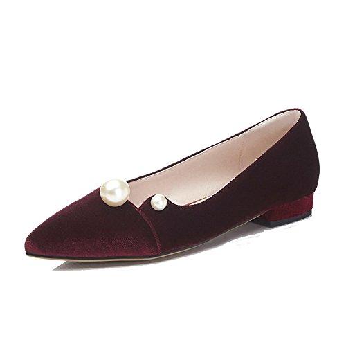 VogueZone009 Femme à Talon Bas Dépolissement Couleur Unie Tire Pointu Chaussures Légeres Rouge Vineux