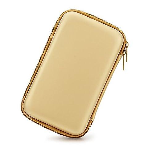 3,5 Zoll EVA Stoßfest Wasserdicht Festplatte, der Travel Case für Externe Festplatte (tragbar, GPS Kamera und externer Akku Pack, Tragbares Ladegerät, Tasche (Gold - Gelb)
