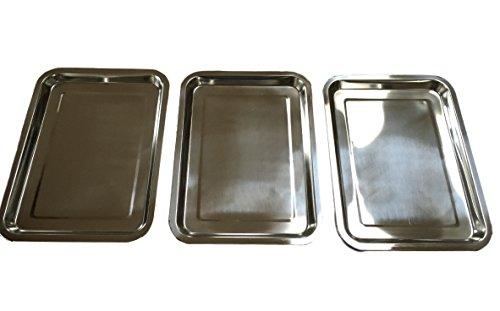 3er Set EDELSTAHL Tablett / Schlemmerplatte - Größe wählbar 32x22 oder 36x27 oder 40x30cm - STAPPELBAR - Edelstahl POLIERT (3er Pack) (40x30cm)