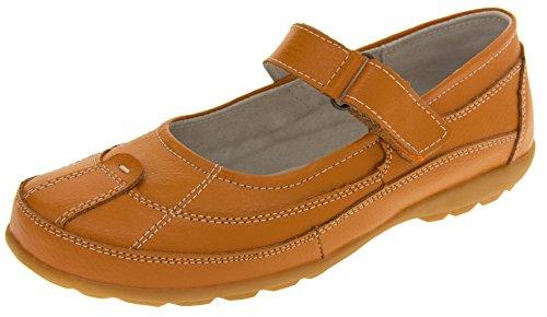 Le cuir pour femme COOLERS Chaussures Mary Jane plat d'été Orange