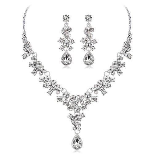 Kette Damen, HUIHUI Halskette Anhänger Damen elegant Strass Perlenkette Halskette Pendant Halskette Kette amulett zum öffnen mit kette Halskette für Frauen Mädchen + Ohrringe (Weiß)
