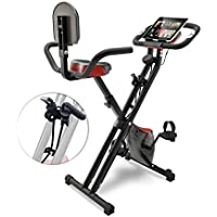 Sportstech F-Bike X100 & X150 - 4in1 Heimtrainer - X Bike - einzigartiges Zugbandsystem - Handpulssensoren - Ergometer - Hometrainer - Faltbares Fitness-Fahrrad - Tablethalterung Rückenlehne klappbar
