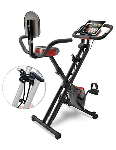 Sportstech F-Bike X100 Fitnessfahrrad mit patentiertem Zugbandsystem 4 KG Schwungmasse Rückenlehne X-Bike Ergometer mit Tablethalterung 8 Stufen...