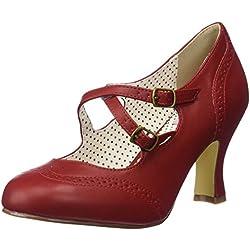Pinup Couture FLAPPER-35, Zapatos de tacón con Punta Cerrada para Mujer, Rot (Red Faux Leather), 39 EU