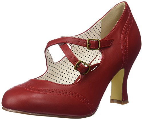 Pinup Couture Damen Flapper-35 Pumps, Rot (Red Faux Leather), 38 - Mary Rot Jane-schuhe Damen