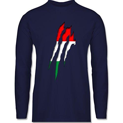 Shirtracer Länder - Ungarn Krallenspuren - Herren Langarmshirt Navy Blau