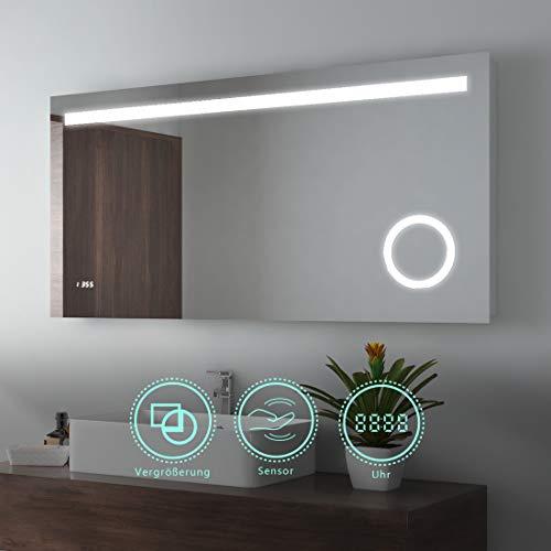 EMKE 120x60cm LED Beleuchtung Badspiegel Badezimmerspiegel Wandspiegel mit 3-Fach Vergrößerung, Sensor-Schalter, Digitaluhr