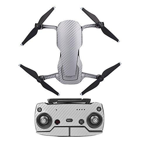 O'woda DJI Mavic Air Drone Body E Controller Adesivi Impermeabile 3M Carbon Grain Decals AntiGraffio Pelle Protettiva (3M Argento)