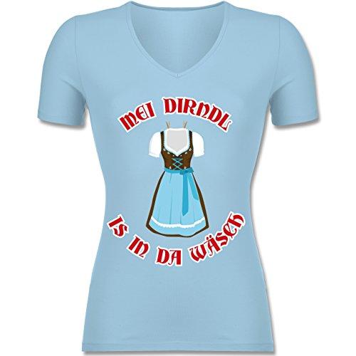 Oktoberfest Damen - MEI Dirndl is in Da Wäsch - Tailliertes T-Shirt mit V