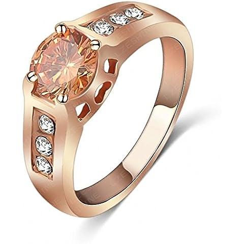 Alimab Gioielli Donne signore anelli di fidanzamento anelli di nozze amore anelli anelli oro rotondo placcato oro