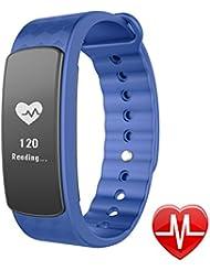 Lintelek Fitness-armband Fitness Tracker Smart Fitness Uhr IP67 Wasserdicht Fitnessarmband Activity Tracker Gesundheits-Schlaf-Monitor Pedometer Herzfrequenz-Monitor mit Call / SMS Erinnerung für Android 4.4 oder höher / IOS 8.0 oder höher und Bluetooth 4.0 oder höher