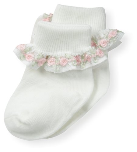 Country Kids Baby-Girls Newborn Rose Chain Lace Sock, Pink, 3-12 Months