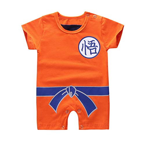 Tiaobug Unisex Strampler Kurzarm-Body Baby Mädchen Jungen Cartoon T-Shirt Overalls Spielanzug Halloween Kostüm Fasching Kleidung Outfit 0-12 Monate Orange 68-74/6-9 - 7 Monate Alten Jungen Kostüm