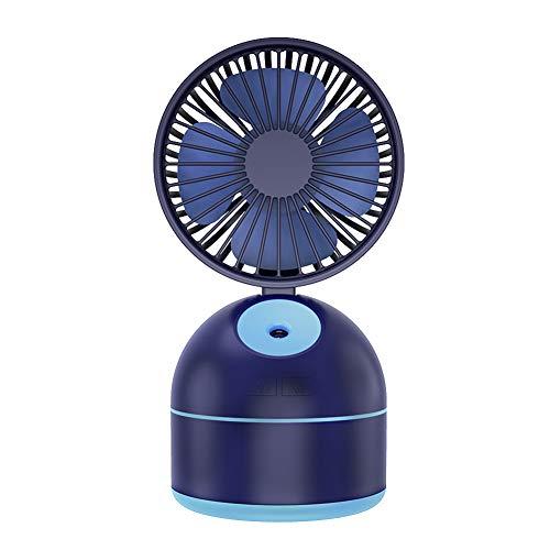 PQG Spray Fan, USB Desktop, Kleiner Lüfter, wiederaufladbar, Faltlüfter, Spray, Feuchtigkeitsspendend, Luftbefeuchter, Mini-Lüfter, DREI Modi können eingestellt Werden, Spray-Kühlung-Blue -