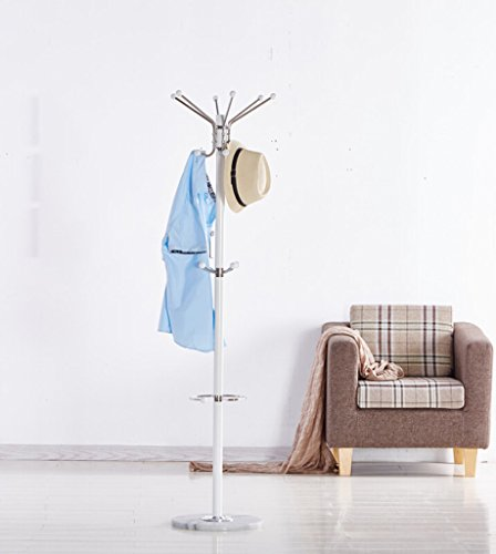 SKC Lighting-Porte-manteau Porte-manteau en acier inoxydable déplacer le matériel de marbre vêtements européens cintres unipolaire vêtements rack chambre à coucher maison chapeau stand noir blanc (38 * 38 * 170cm) ( Couleur : Blanc )