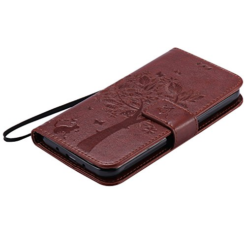 Galaxy J3 (2016) Hülle,Galaxy J3 (2016) Ledertasche Brieftasche im BookStyle,SainCat PU Leder Wallet Case Folio Schutzhülle [Shell Owl Muster] Hülle Lederhülle Bumper Handytasche Skin Schale Soft Back Katzen und Baum-Braun