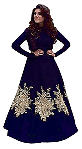 I-Brand Women's Blue Color Cotton Silk Fabric Embroidery Work Semi Stiched Gown