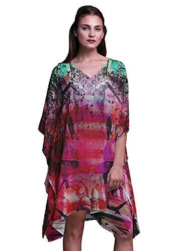 Phagun Rosa mughal Monumente Beach Kaftan Bikini Cover Up Kurzes Kaftan für Damen-4X-5X -