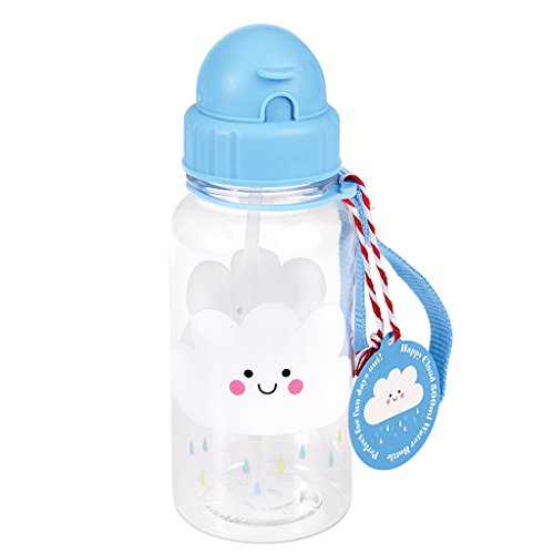 Trinkflasche für Kinder Wasserflasche Kindertrinkflasche mit Strohhalm Wolke Regenwolke Cloud blau