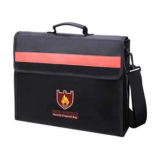 Bloomma borse per documenti di sicurezza, borsa per documenti a prova di fuoco,forte protezione termica a doppio strato con tracolla a manico cerniera resistente,sacchetti resistenti all'acqua