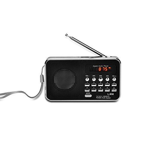 HTTECH Portable Digital FM Radio Audio Mp3 Musik Player Mini Antenne Wiederaufladbare Player Unterstützung Micro SD / TF Kartenspieler für PC Ipod Iphone Unter Dem Schrank Cd-mp3-player