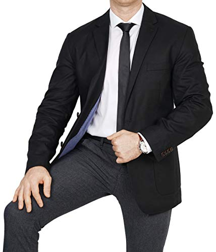 bonprix Herren Sakko untersetzt Comfort Fit Leinen-Mix Übergröße Blazer Zweiknopf Jackett Anzug Langgröße bequem Spezialgröße, Größe 26, schwarz