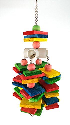 Longwei giocattolo da masticare per uccelli, forniture per pappagalli blocchi a sospensione durevoli in legno colorati bead string bite grande medio e piccolo pet bird stand rack gioco giocattolo
