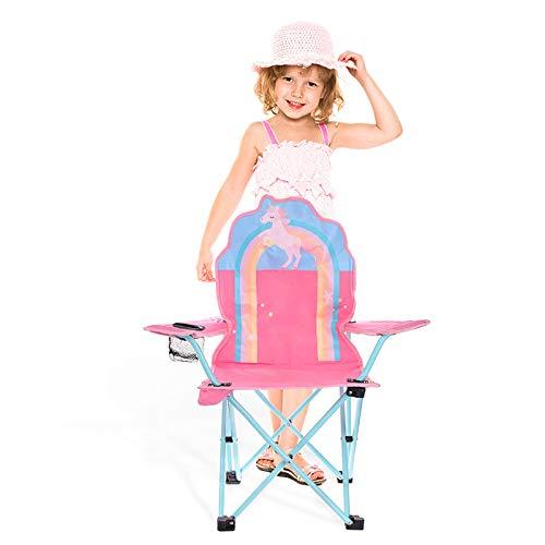 olyee Kinder die Rasen und Campingstuhl Falten, Einhorn tragbarer Sitz-Stuhl-Stuhl mit Ineinander greifenhalter, Faltbarer Garten Stuhl Strand Stuhl