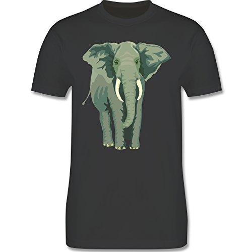 Wildnis - Elefant - Herren Premium T-Shirt Dunkelgrau