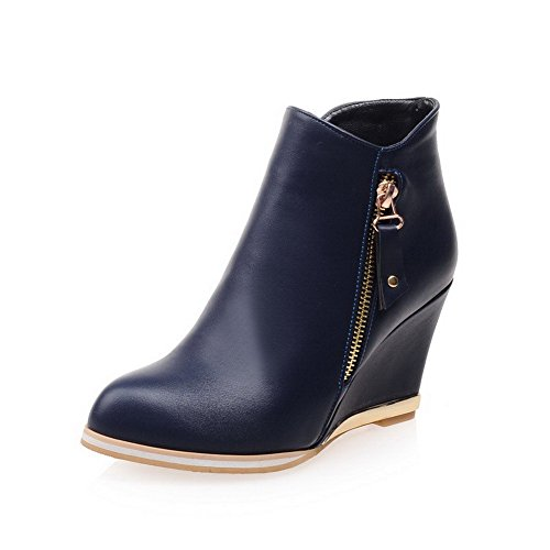 AllhqFashion Damen Hoher Absatz Spitz Zehe Blend-Materialien Stiefel Blau