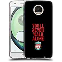 Official Liverpool Football Club Stencil Black Crest You'll Never Walk Alone Soft Gel Case for Motorola Moto Z Play / Droid
