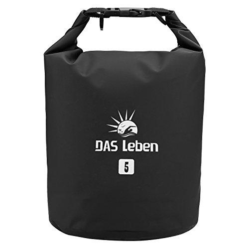 DAS Leben Trockentasche Dry Bag Wasserdichter Sack Wasserfester Packsack Rücksack Trockenbeutel ideal für Bootfahren / Kajakfahren / Angeln / Rafting / Schwimmen / Schwimmende / Camping - Schützt Telefon / Kamera / Kleidung / Dokumente von Wasser, Sand, Staub und Schmutz/5L/10/20L (schwarz, 5L)