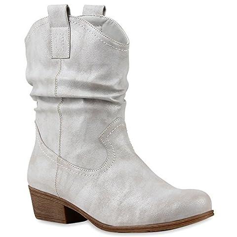Damen Stiefeletten Cowboy Boots Holzoptikabsatz Stiefel Schlupfstiefel Blockabsatz Wildlederoptik Schuhe 115211 Grau 39 | Flandell®