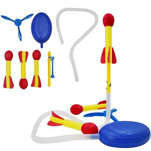 deAO Stomp and Launch Rakete Spielset für Kinder Science Launcher Game Set beinhaltet Schaumstoffraketen für Innen und Außen